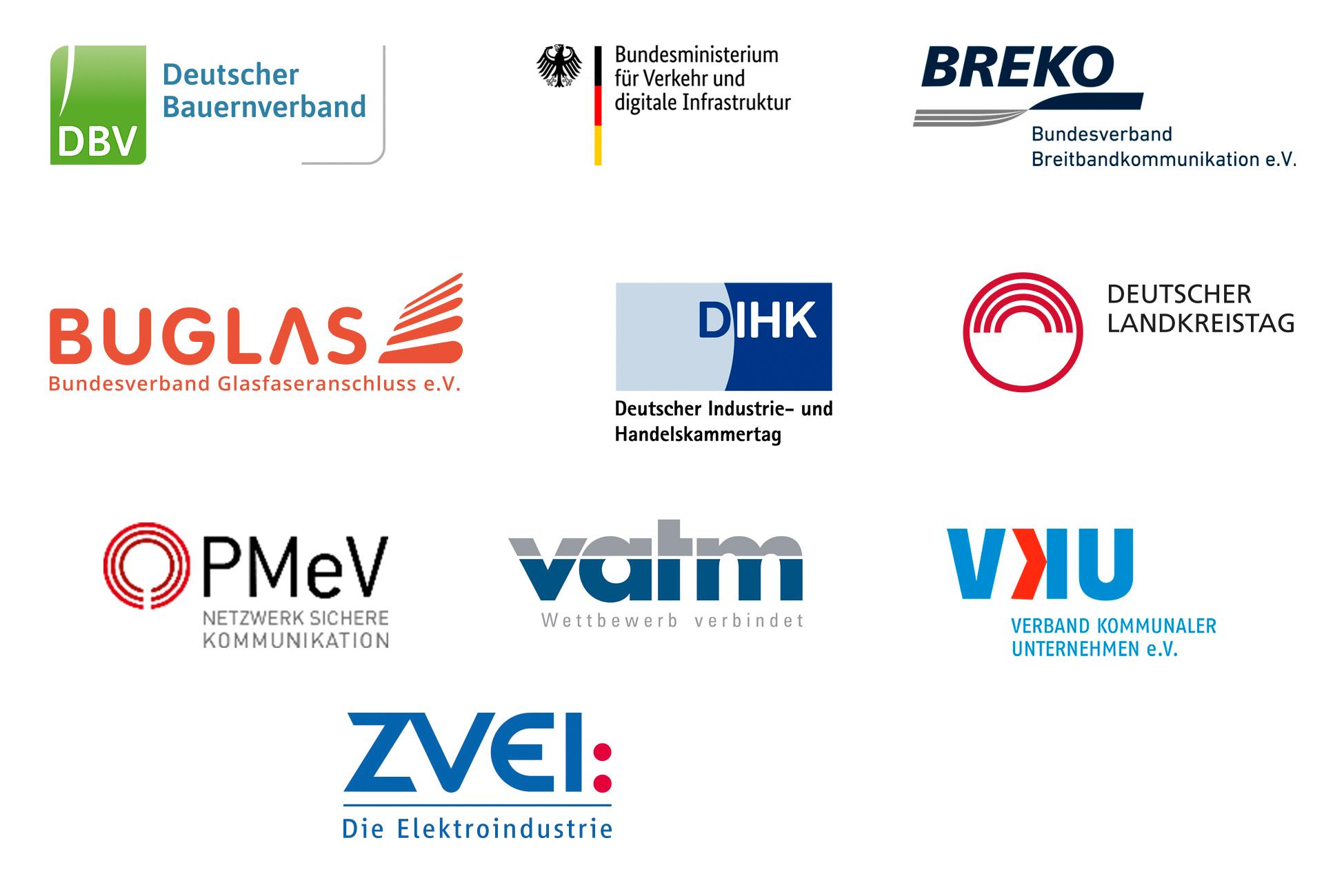 Logosammlung von BMVI, DBV, BUGLAS, DIHK, DLT, VKU und ZVEI