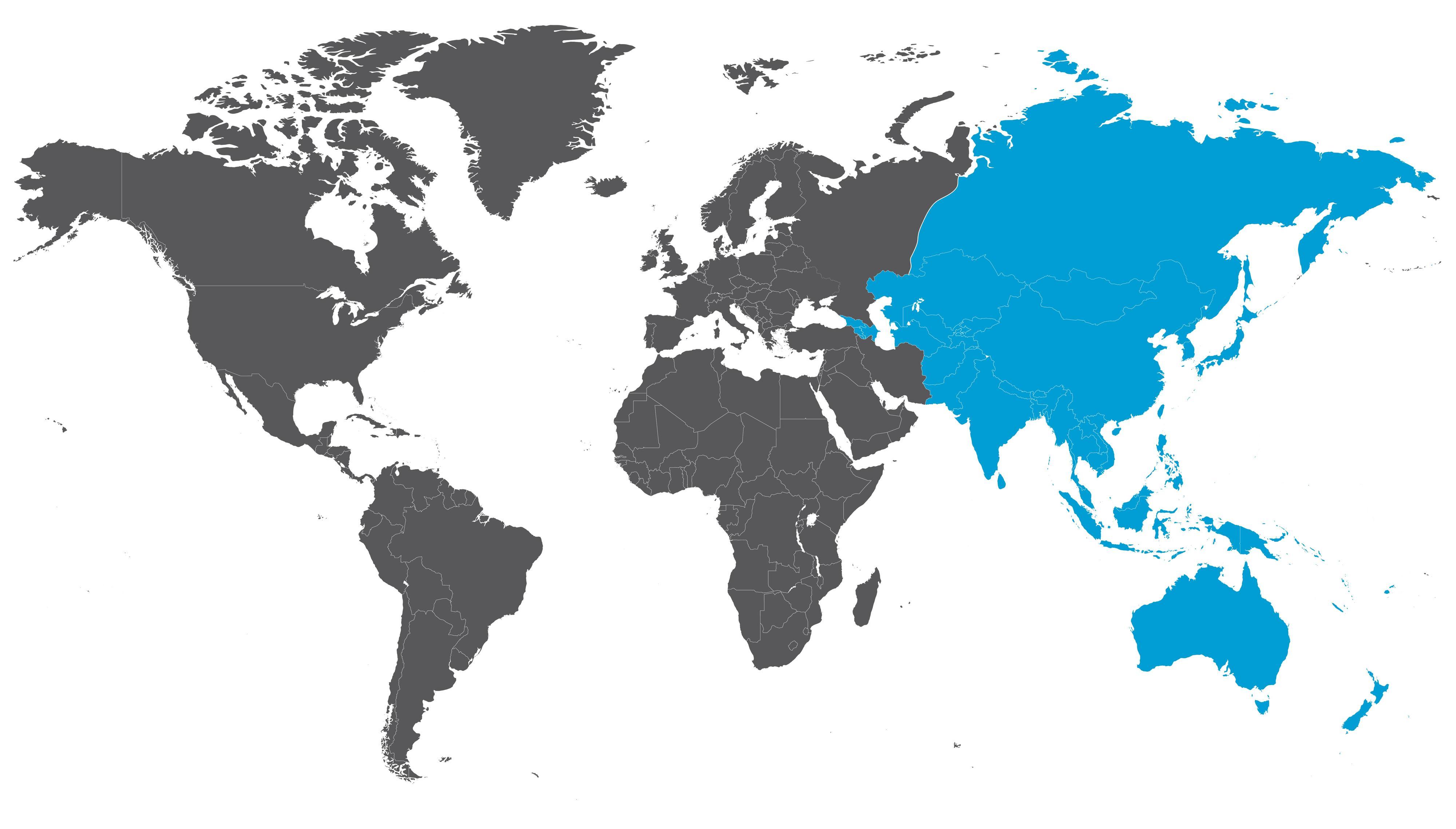 Weltkarte mit Asien und Australien in blau hervorgehoben.