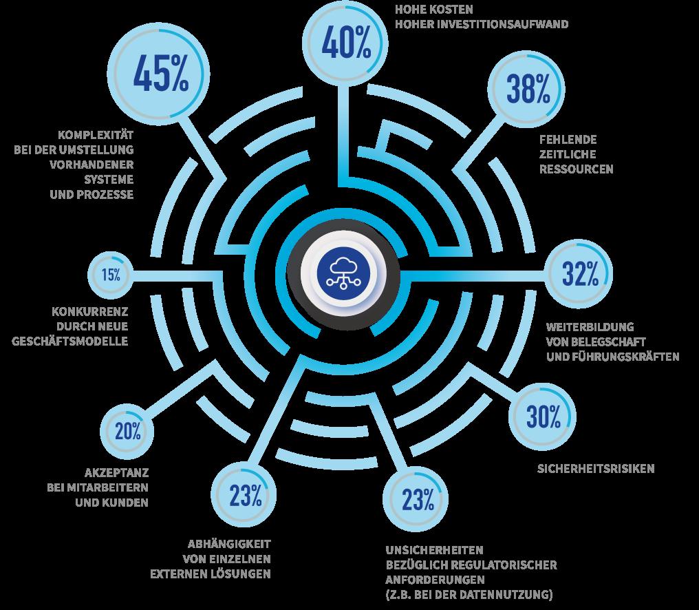 Grafik zur Digitalisierungsumfrage 2021: Herausforderungen