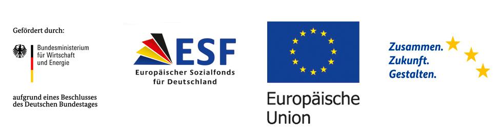Logos BmWi, ESF-Claim, ESF, EU
