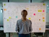 Junge Frau steht vor Flipchart mit vielen Notizen