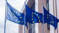 Drei Fahnen mit der EU-Flagge