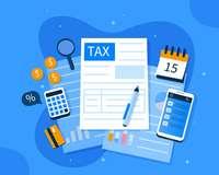 Gezeichnete Steuerunterlagen, Kalender, Taschenrechner, Luge etc.