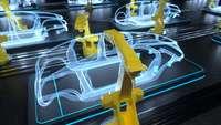 Produktionsstraße mit Robotern, die an virtuellen Autokarosserien basteln