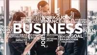 Beratung, Menschen mit Wortmarke Business etc.