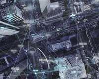 Luftbild von City mit stilisierten Datenflüssen